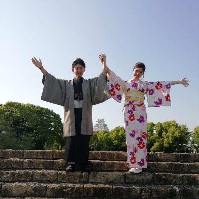 姫路城と記念撮影