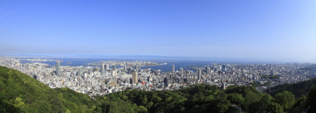 View of Kobe's cityscape from the mountains